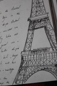 Eiffel Tower with travel notes.