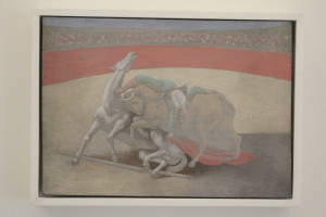 Bullfighting was one of Picasso's favorite pastimes. Many times did he use the theme in his work, like this elegant small painting.